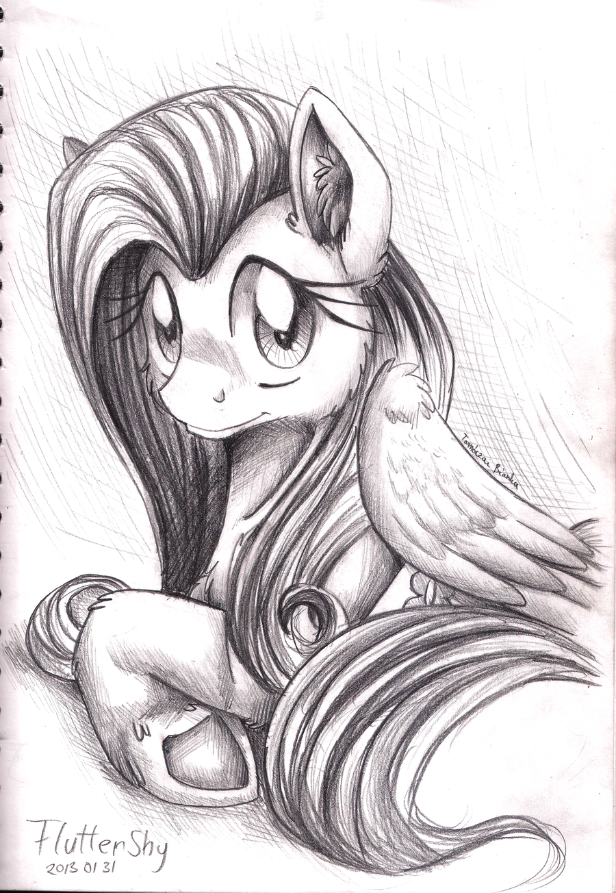 Pencil Portrait - Fluttershy by InuHoshi-to-DarkPen
