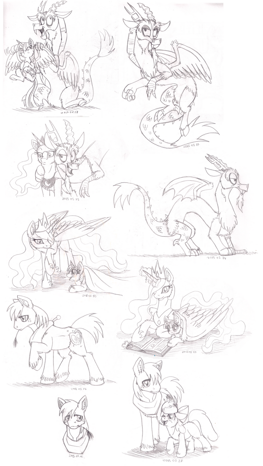 Pony Sketch Pack 01 by InuHoshi-to-DarkPen