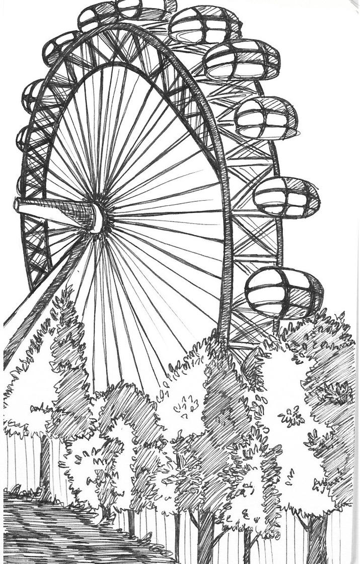 Line Drawing London : The london eye by onceuponapencil on deviantart