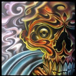 skull airbrush and pencils