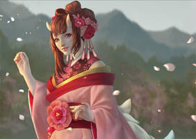 Onmyoji Fan Art Contest - Momo by IndahAlditha
