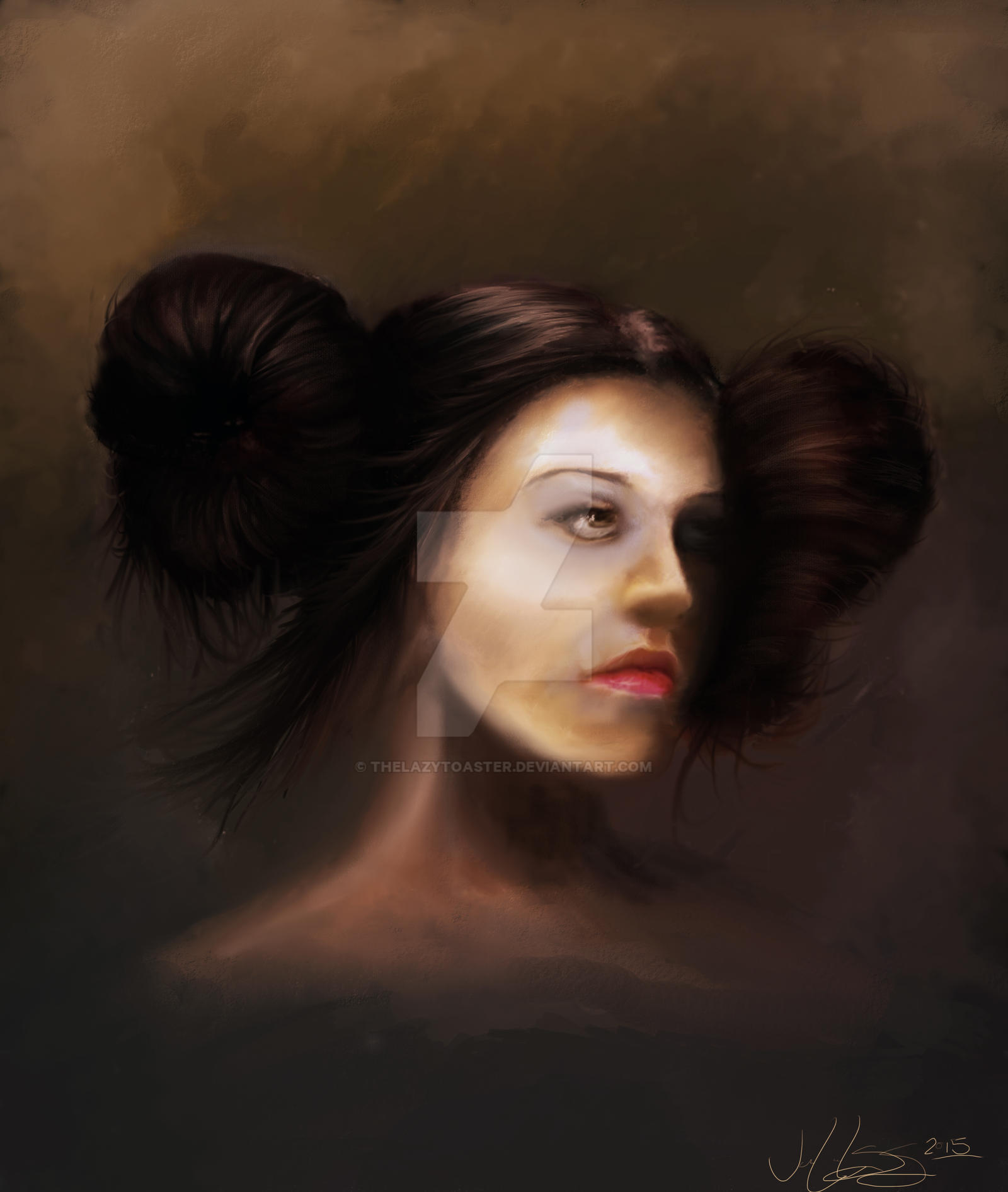 lazy hair styles not princess leia digital portrait painting by 4271