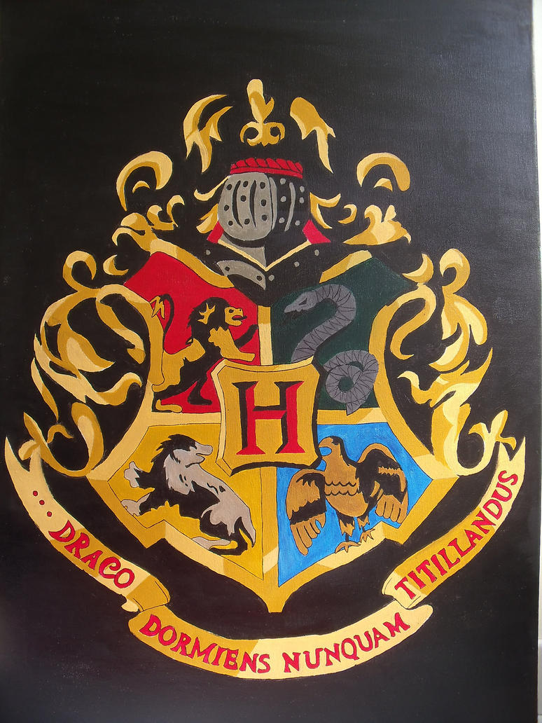 how to draw the hogwarts crest