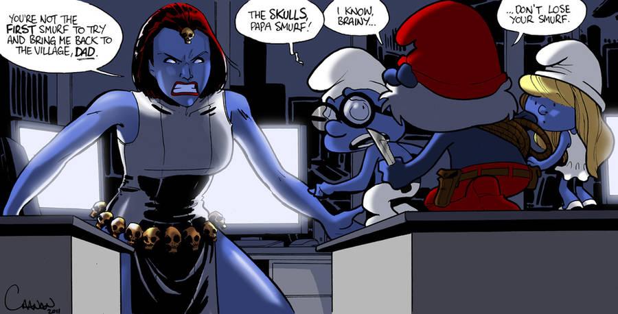 Mystique the secret Smurf by caanantheartboy