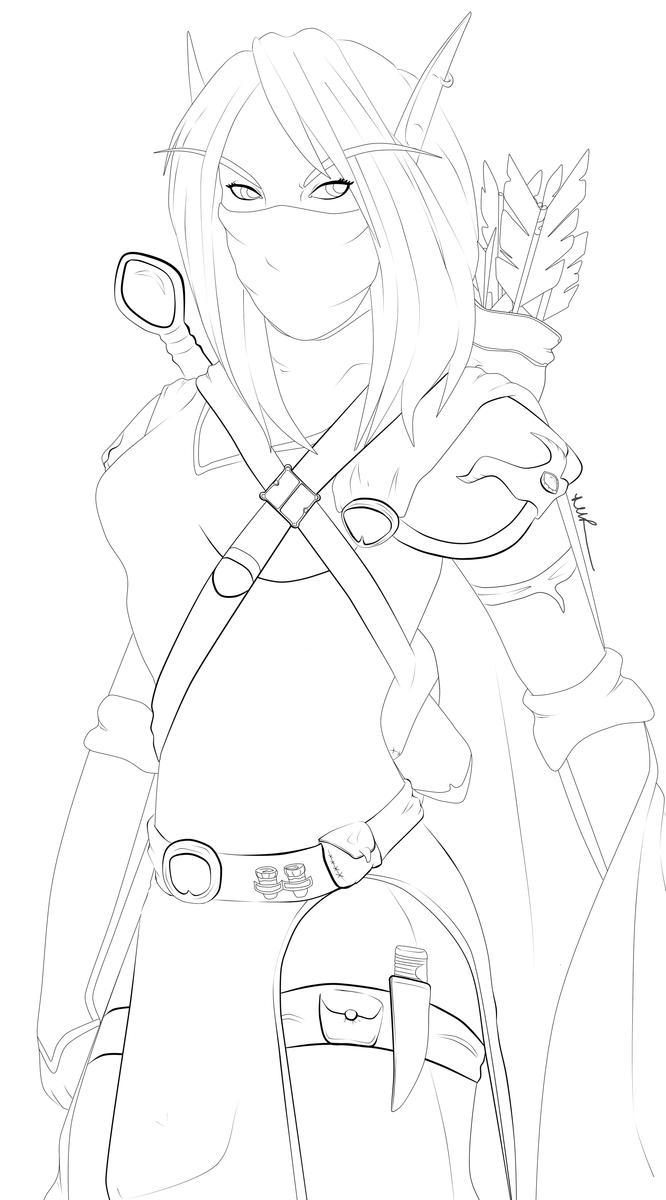 (Line Art) Asharri Lakefire: Farstrider Captain by Musing-Zero