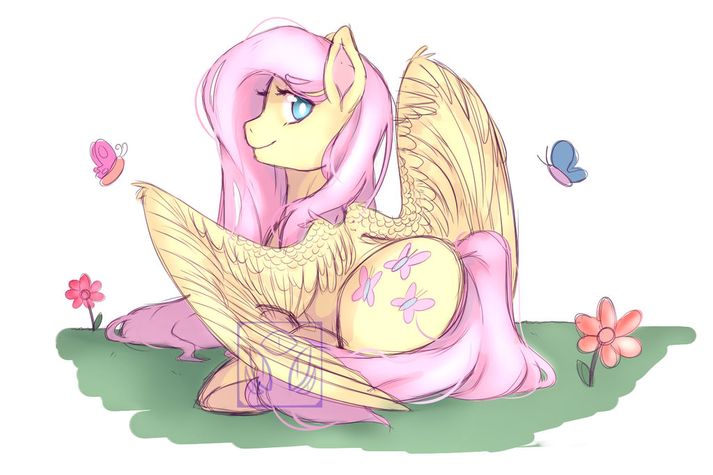 Fluttershy doodle by ravenwithpens