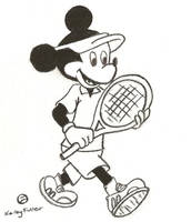 Mickey Mouse playing Tennis by PeacockLover44