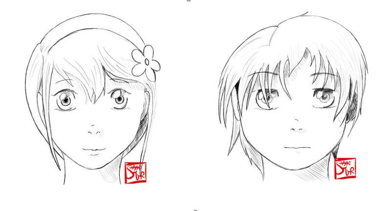 Manga face practice by SnowblindOtter