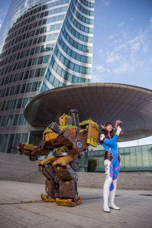 Bastion and D.Va from Overwatch by dandlit