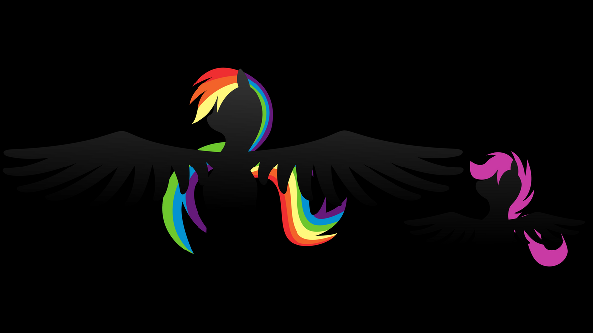 Rainbow Dash Wallpaper with Scootaloo by klaxa