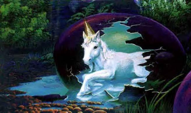 Al igual que muchos tipos de unicornios, el primer ejemplar de los Alicornios de Cantabria nació de un huevo.