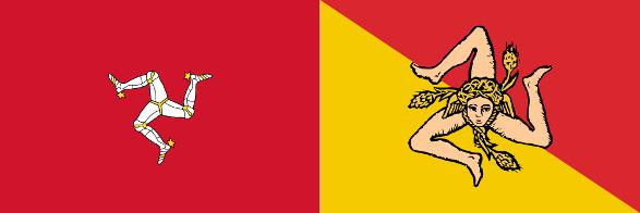 Bandera de la Isla de Man y Bandera de Sicilia