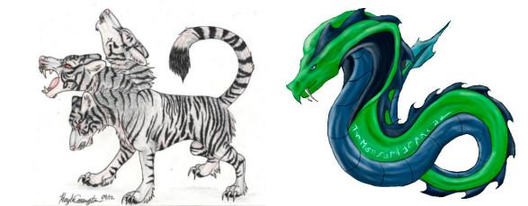 Tigres-Lobo Tricéfalos, por StupidNoodleCat y Serpientes Rúnicas, por Sara-a2