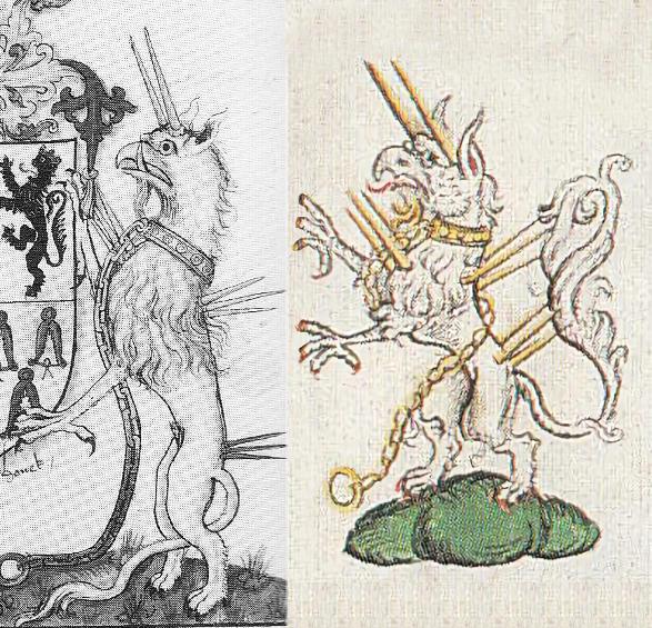 Escudo de armas de St. Leger (1530-1531) y estandarte de un Caballero de la Jarretera de mediados de 1500.