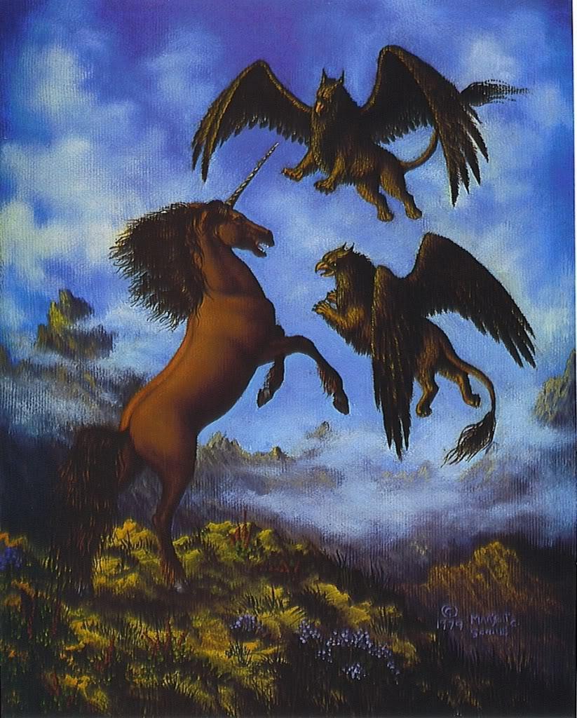 Unicornio luchando contra dos grifos por Marjett Schille
