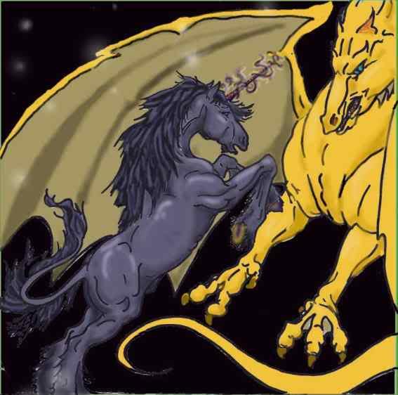 Batalla entre un dragón y un unicornio por Richard Dick Firestorm