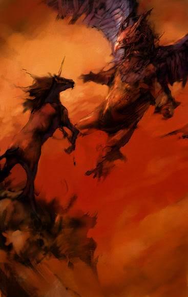 Grifo luchando contra un unicornio por Justin Sweet