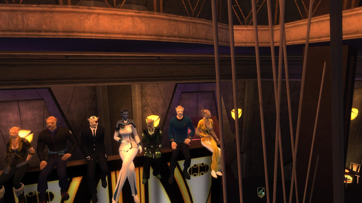 Caitians On Top Of Quark's Bar Sign by Just-Kondrad