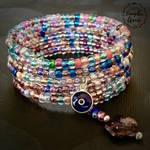 Blueglass Evil Eye Spiral Memory Wire Bracelet by ThaArtofLaughinAnnie