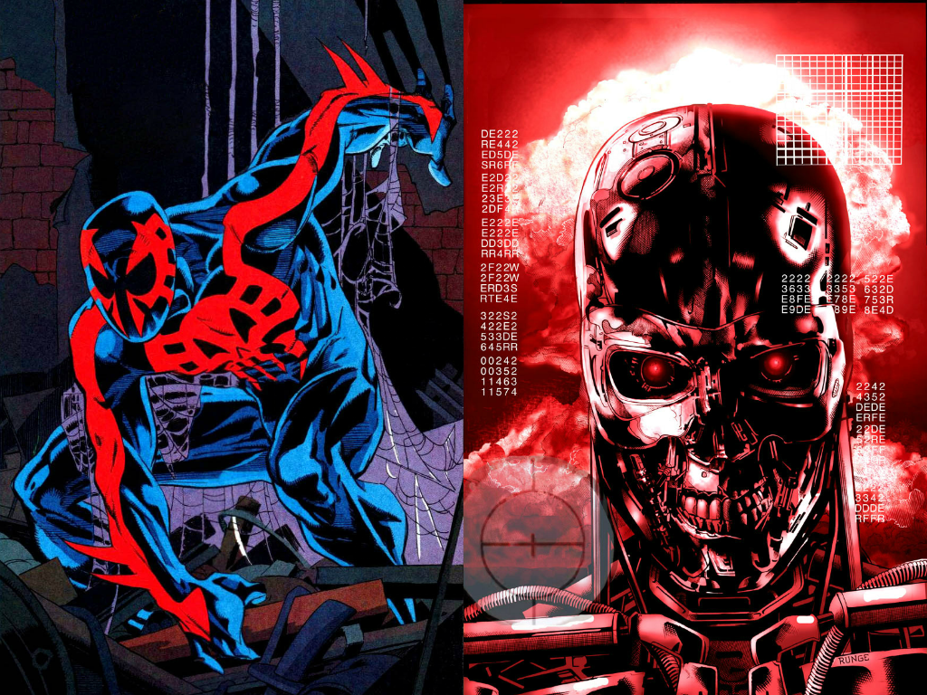 Wallpaper Spider Man 2099 Fan Art 4k Creative Graphics: Spider-Man 2099 Vs. A Terminator Of Skynet By