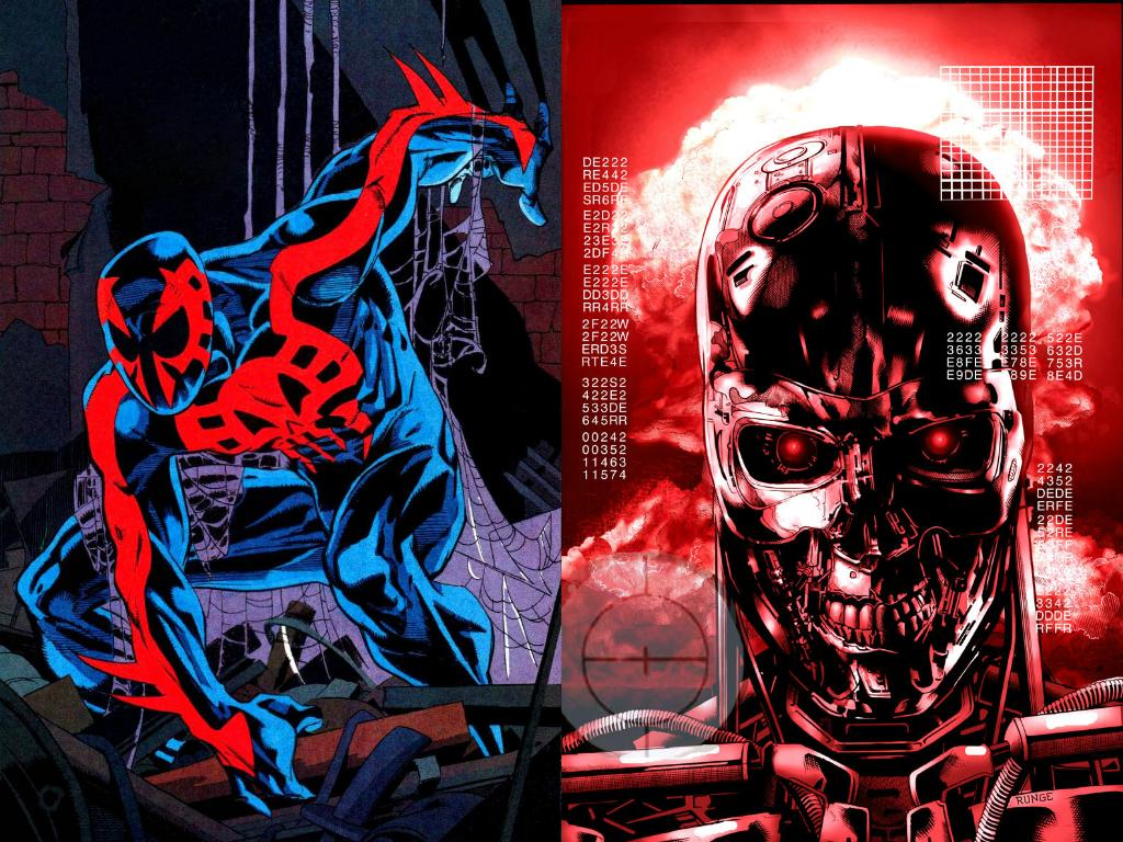 Wallpaper Spider Man 2099 Fan Art 4k Creative Graphics: Spider-Man 2099 Vs. A Terminator Of Skynet By