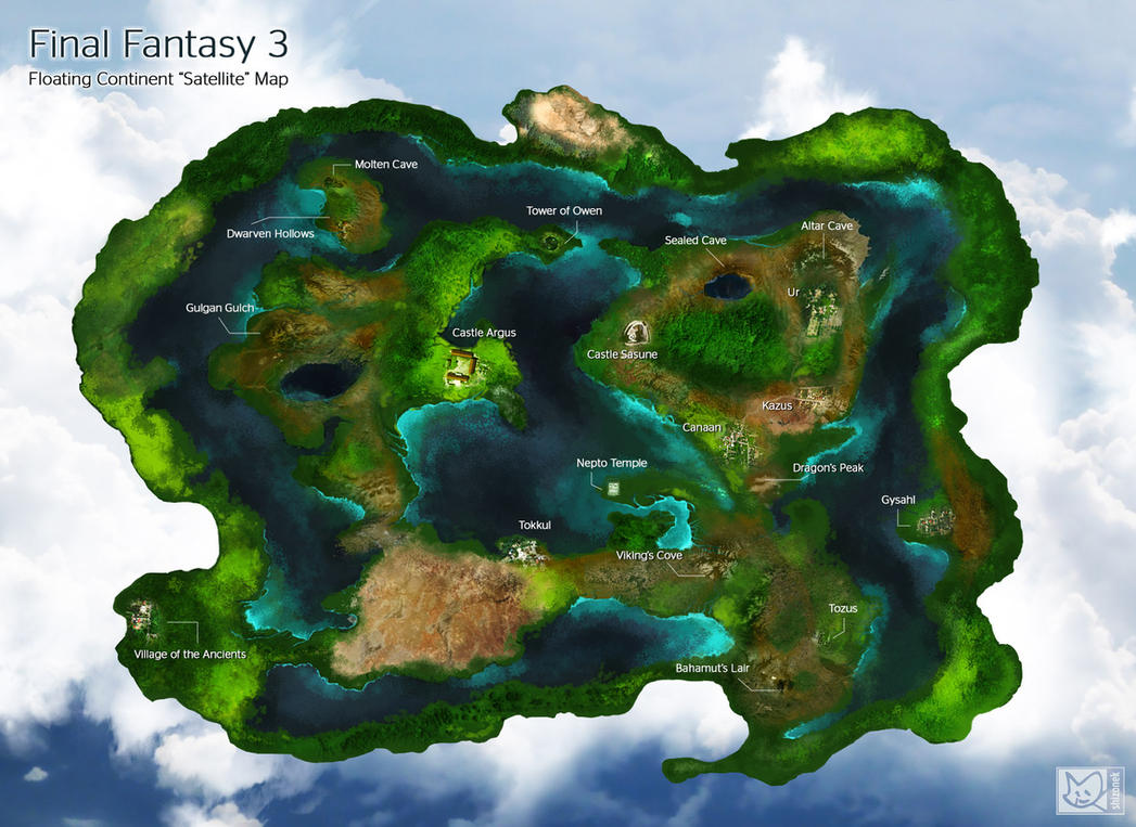 Final Fantasy Floating Continent Satellite Map By Shizonek On - World satellite map 2014