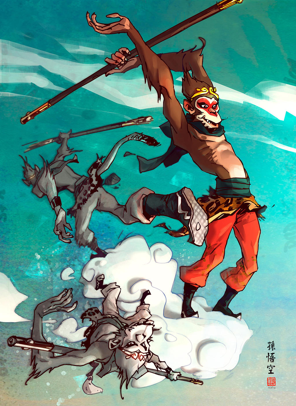 Monkey king cloudboarding... by barontieri