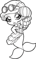 Steampunk Mermaid Chibi by Chibivi-Linearts