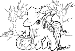 Halloween Pony Lineart by Chibivi-Linearts