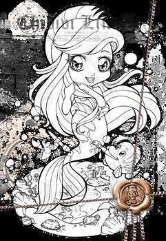 Lineart   Disney Chibi   Ariel dressed as Flounder