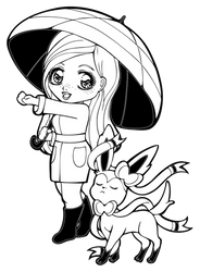 Lineart   Parasol Lady Maomi with Sylveon by Chibivi-Linearts