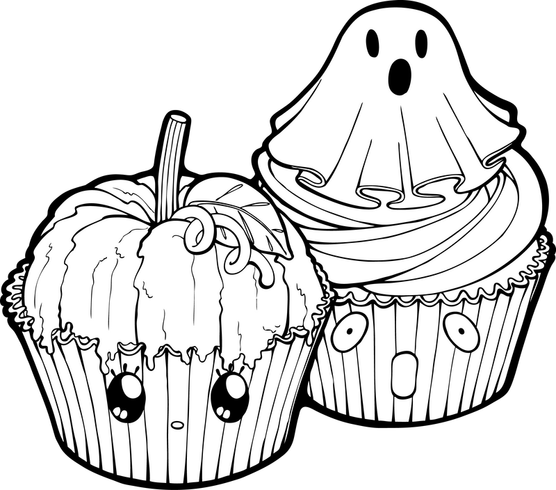 Desserties | Halloween Cupcakes Lineart by Chibivi-Linearts on ...