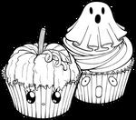 Desserties   Halloween Cupcakes Lineart
