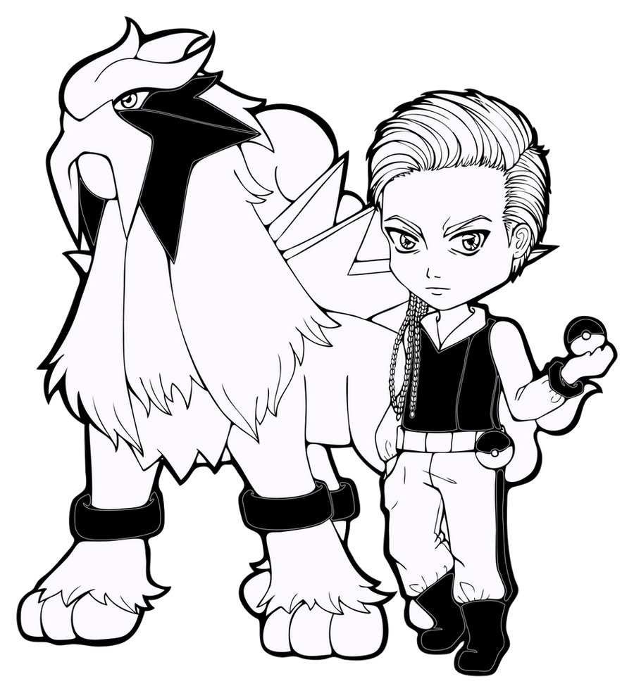 Lineart Ace Trainer Hanish With Entei By Chibivi Linearts