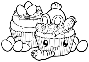 Desserties | Easter Cupcakes Lineart by Chibivi-Linearts