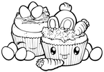 Desserties   Easter Cupcakes Lineart