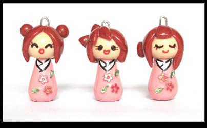 Mini Kokeshi Doll Charms - Pink Flower Trio by MissJin