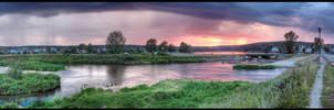Russian village sunset