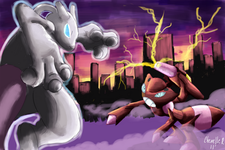 Mewtwo vs Shiny Genesect by Phatmon on DeviantArt
