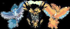 Mega Articuno, Mega Zapdos and Mega Moltres by Phatmon