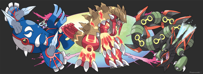 Mega Kyogre  Mega Groudon and Mega Rayquaza Promo by Phatmon