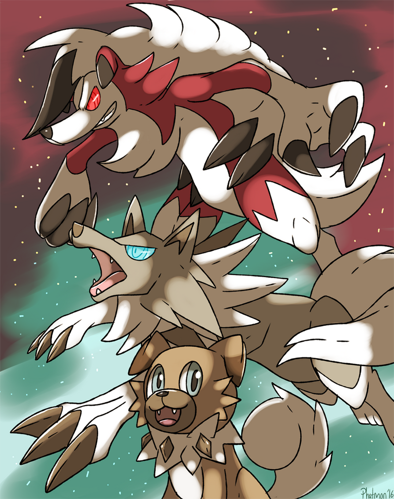 Rockruff and Lugarugan forms by Phatmon