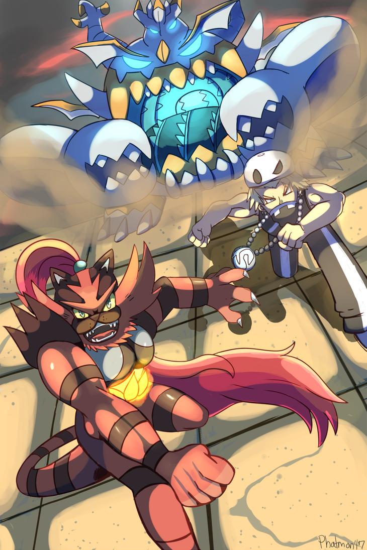Incineroar and the Ultra Beast by Phatmon