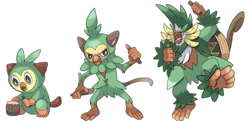 Grookey's fake evolutions by Phatmon