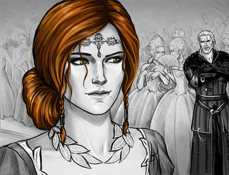 Triss Merigold and Geralt by NastyaSkaya