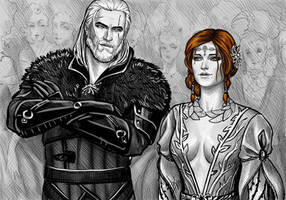 Triss Merigold and Geralt by NastyaSkaya