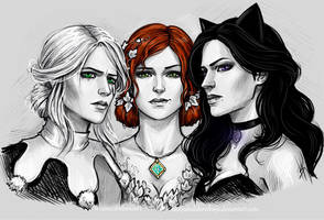 Ciri, Triss and Yennefer by NastyaSkaya