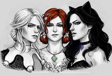 Ciri, Triss and Yennefer by NastyaSkaya