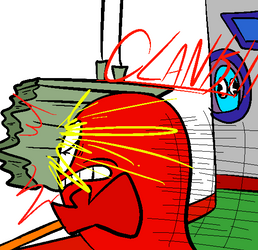 Clyde slams Blinky into an Electric Box by BlastProcessing16