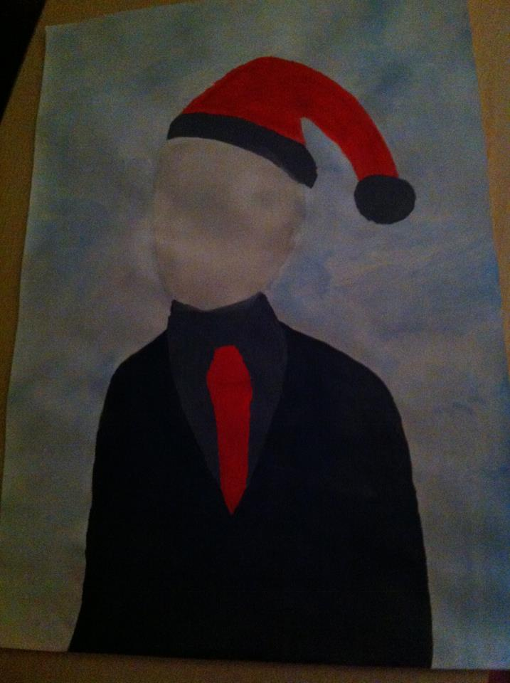 Slenderman wishes you all a happy christmas by GoToSleepSweetheart